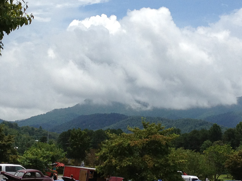 Clouds rolling over the mountains